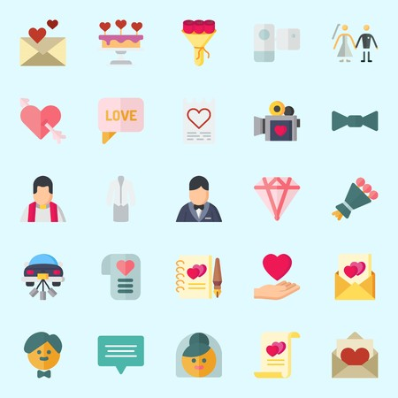 Icons set about Wedding with video camera, suit, wedding cake, couple, diamond and camcorder