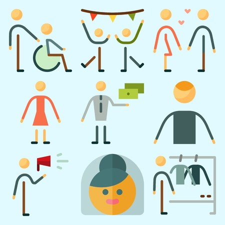 Icons set about Human with disable, dancing, boyfriend , exchanger, dancer and man