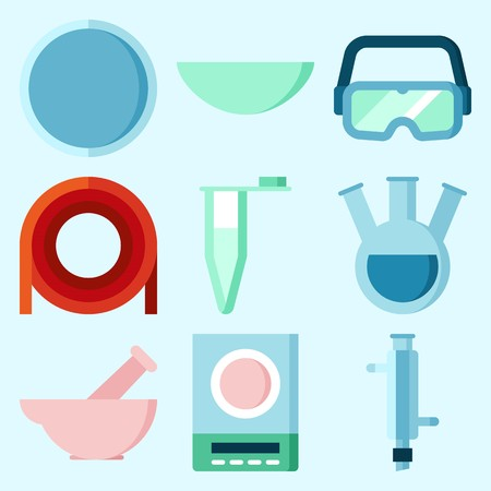 Icons set about Laboratory with lab, condenser, measuring, dropping liquid, secure glasses and watch glass