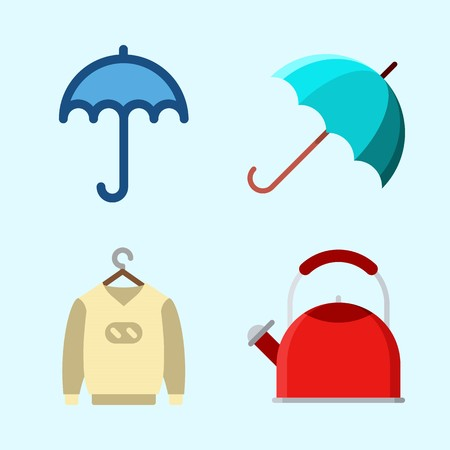 Icons set about winter with umbrella, sweater and kettle.