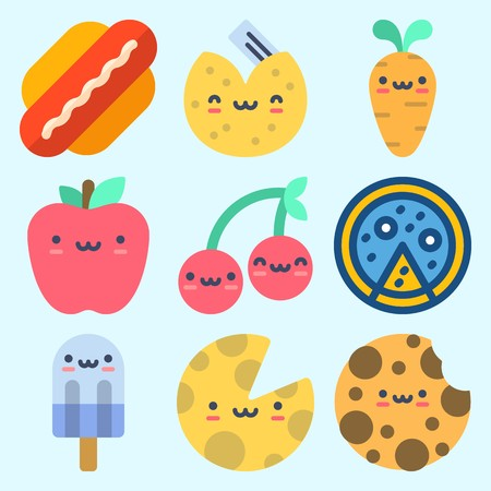 Icons set about food with hot dog, apple, fortune cookie, pizza and cherry. Standard-Bild - 95128418