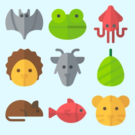 Icons set about animals with cocoon, fish, frog, hedgehog, squid and tiger. Çizim
