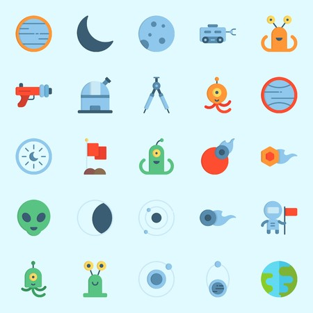 Icons set about universe with earth, uran, comet, blaster, moon rover and alien.