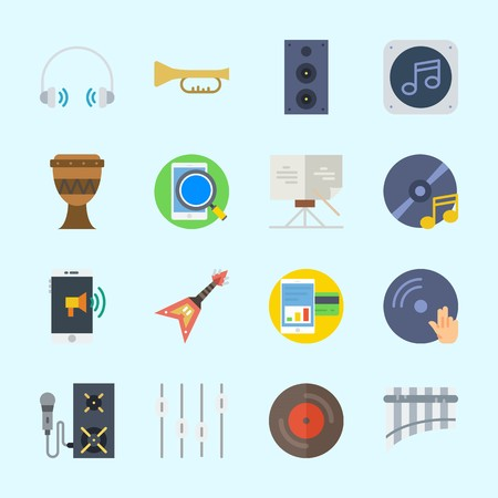Icons about music with compact disc, vinyl, trumpet, speaker, disc jockey and dj.