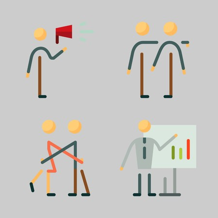 Icons set about human with protest, ceo, whiteboard, friends, trust and hug.