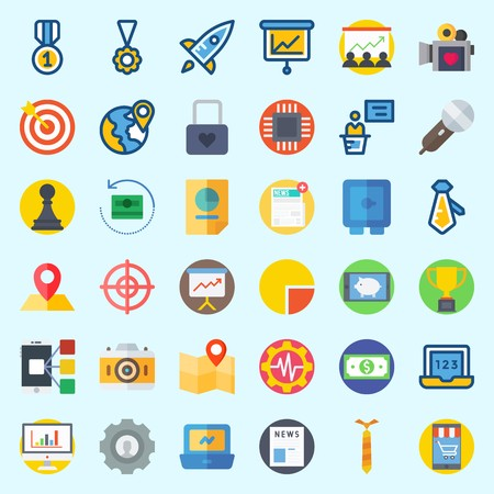 Icons about digital marketing with statistics, map, smartphone, location, stats and trophy.