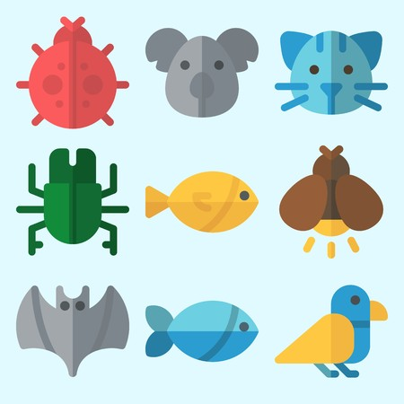 Icons set about animals with firefly, ladybug, fish, bat and bird. Illustration