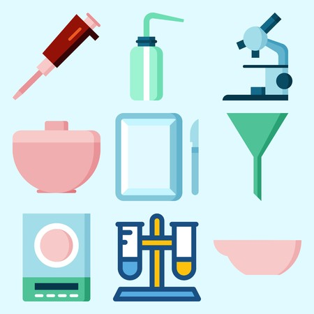 Icons set about laboratory with desiccator, measuring, condenser, test tube, microscope and evaporator dish.