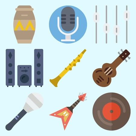 Icons set about Music with electric guitar, Spanish guitar, vinyl, oboe, sound system and levels.