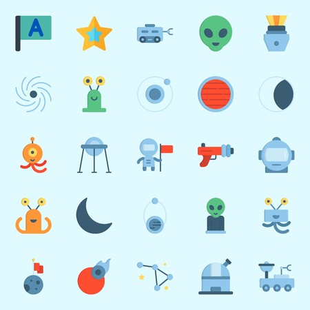 Icons set about universe with comet, Neptune, black hole, blaster, orbit and star. Illustration