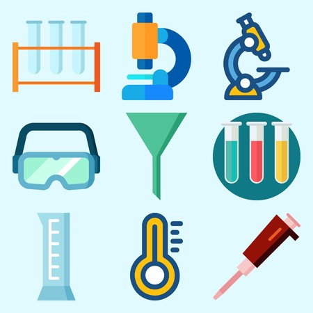 Icons set about laboratory with condenser, microscope, funnel, test tubes, thermometer and cylinder. Illusztráció