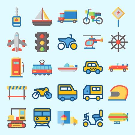 Iconos sobre transporte con tren, helicóptero, barco, todo terreno, moto y gasolinera.