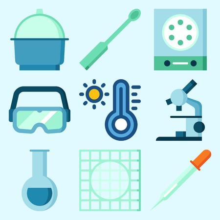 Icons set about laboratory with measuring, microscope, crucible, ladle, thermometer and test tube.
