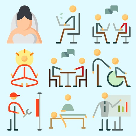 Icons set about Human with mystical, dialogue, reperation, chating, chatting and working