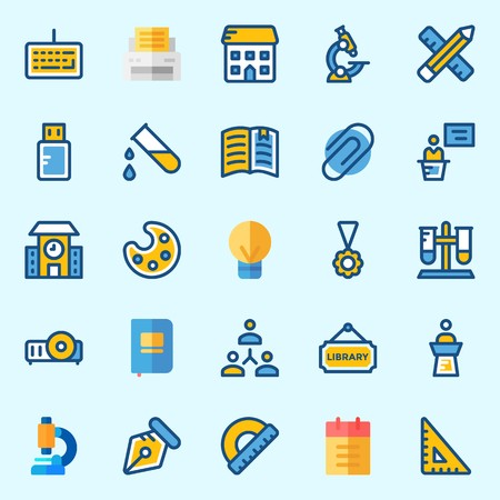 Icons set about School And Education with test tube, open book, library, set square, medal and utensils