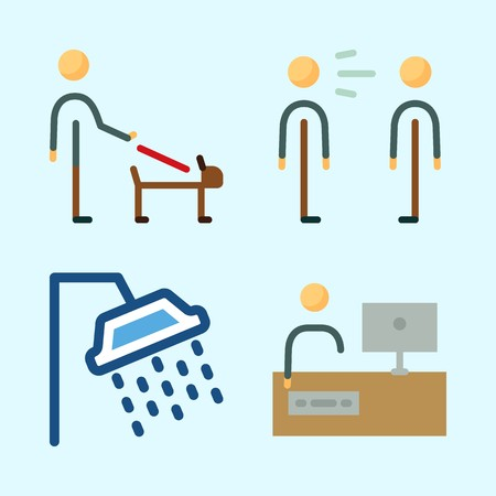 Icons set about Human with responsibility, man, shower, scream, working and tv Stock Illustratie