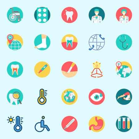 Icons set about Medical with thermometer, tablets, mystical, surgeon, teeth and wheelchair