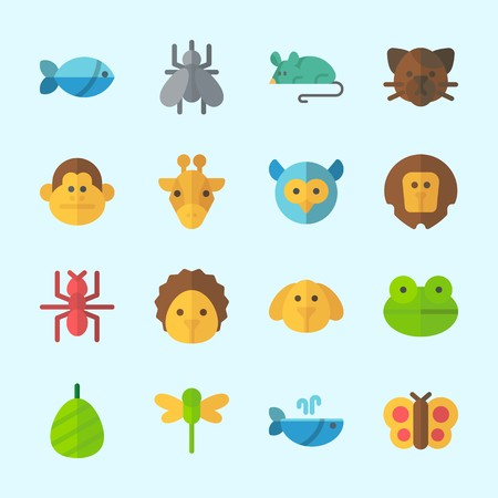 Icons about Animals with frog, hedgehog, fish, owl, mosquito and butterfly