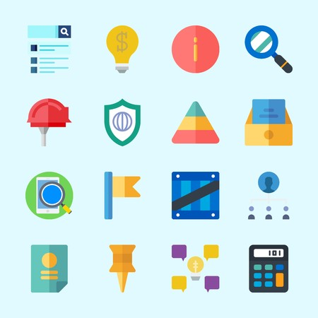 Icons about Business with smartphone, push pin, teamwork, shield, inbox and box
