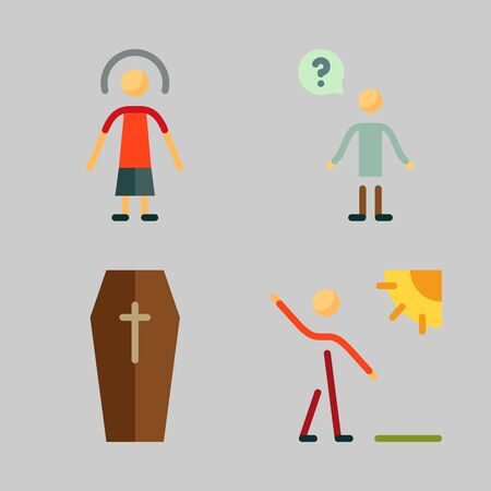 Icons set about Human with question, walker, female, male and coffin Ilustracja