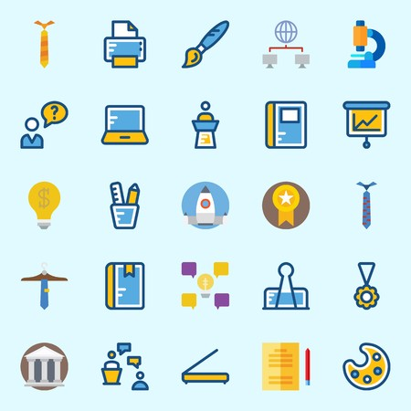 Icons set about School And Education with scanner, idea, user, pencil case, studying and missile 矢量图像