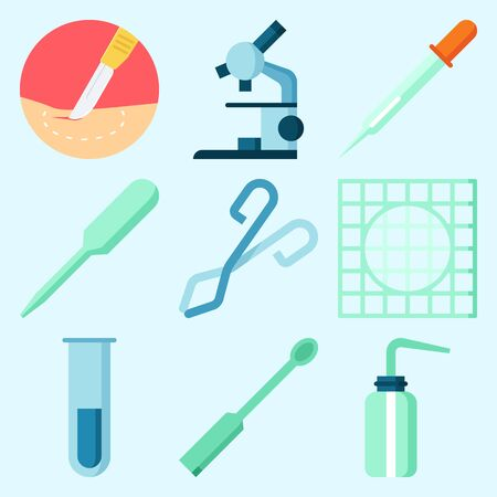 Icons set about Laboratory with surgery, ladle, dropper, microscope, separator funnel and desiccator Çizim