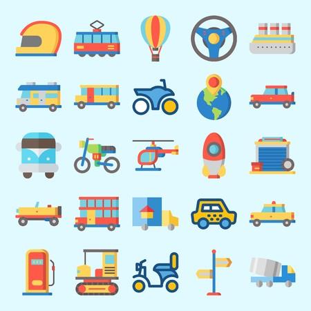 Conjunto de iconos sobre transporte con crucero, volante, globo aerostático, automóvil, camión y cohete