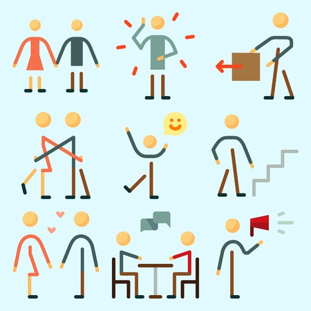 Icons set about Human with chating, stick man, illness, happiness, going up and protest