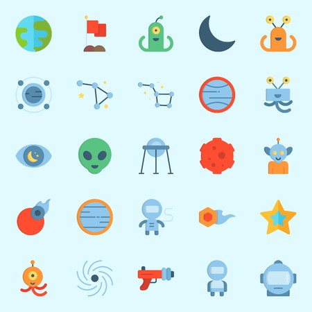Icons set about Universe with flag, moon, capsule, comet, orbit and blaster