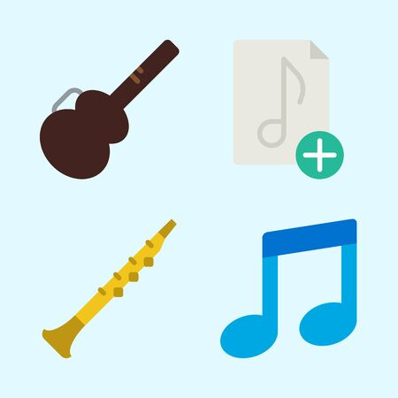 Icons set about Music with music file, guitar protector, oboe and musical note
