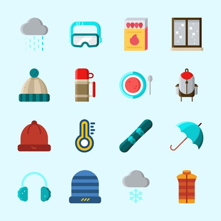 Icons about Winter with matches, vest, rain, goggles, winter hat and snowboard Illustration