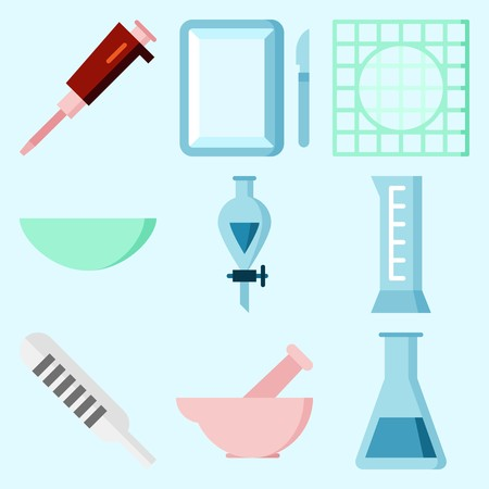 Icons set about Laboratory with test tube, lab, funnel, watch glass, surgery and condenser