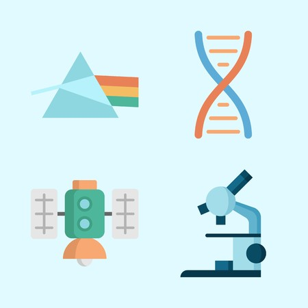 Icons about Science with dna, microscope, refraction and satellite Ilustrace