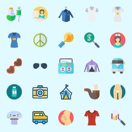 Icons set about Hippies with poison, search, pregnancy, photo camera, nurse and sunglasses
