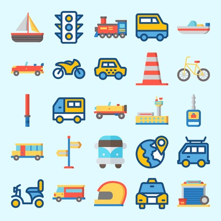 Icons set about Transportation with car, garage, cone, sport  car, motorbike and locomotive
