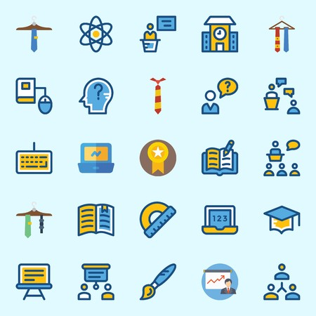 Icons set about School And Education with paint brush, networking, tie, presentation, keyboard and protractor