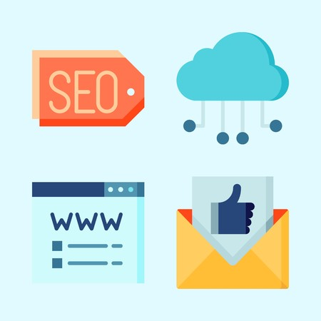 Icons set about Seo with tags, cloud, cloud computing, email and domain registration Stock Illustratie