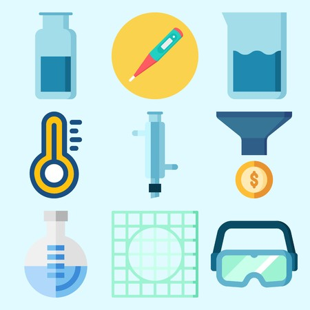 Icons set about Laboratory with condenser, funnel, lab, beaker, gas jar and flask Illusztráció
