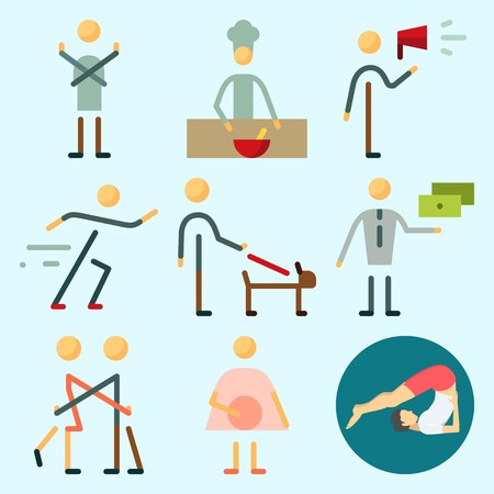 Icons set about Human with yoga, sportsman, hug, chief, man and exchanger Illustration