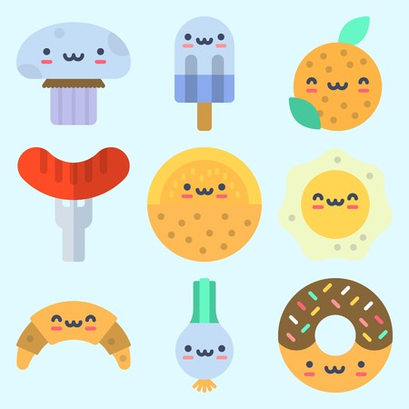 Icons set about Food with popsicle, orange, scallion, hot dog, melon and croissant 向量圖像