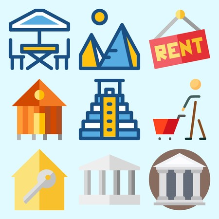 Icons set about Construction with real estate, pyramid, museum, rent, shopping and monumental Иллюстрация