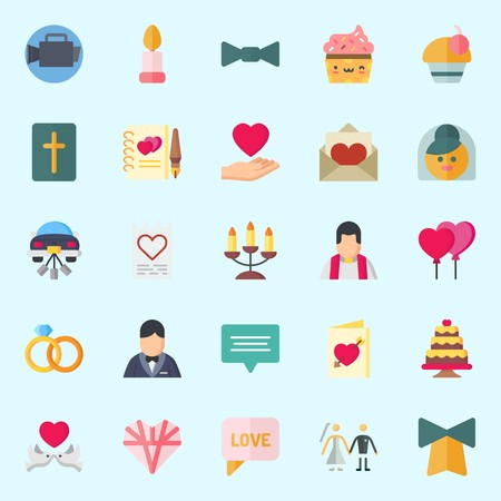 Icons set about Wedding with bow tie, wedding rings, bride, balloons, candelabra and wedding invitation