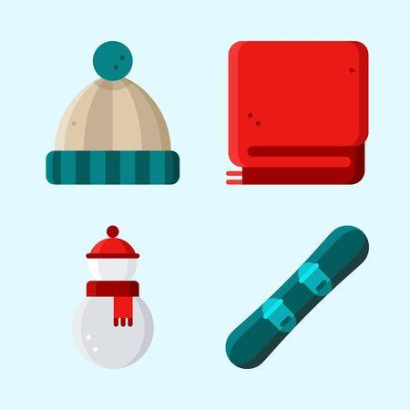 Pictogrammen instellen Winter met snowboard, deken, muts en sneeuwpop