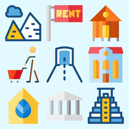 Icons set about Construction with real estate, hotel, tunnel, monumental, pyramid and pyramids
