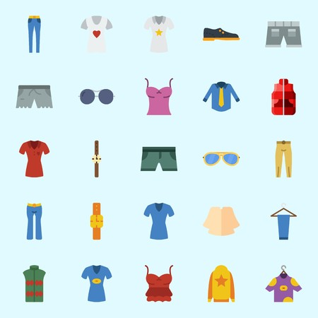 Icons about Man Clothes with sunglasses, short, trousers, watch, shirt and vest