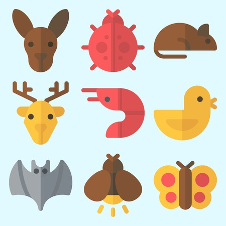 Icons set about Animals with bat, prawn, kangaroo, rat, deer and butterfly Vettoriali