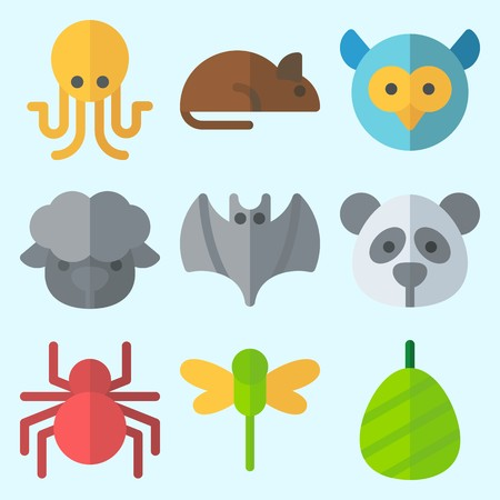 Icons set about Animals with sheep, rat, dragonfly, owl, spider and octobus