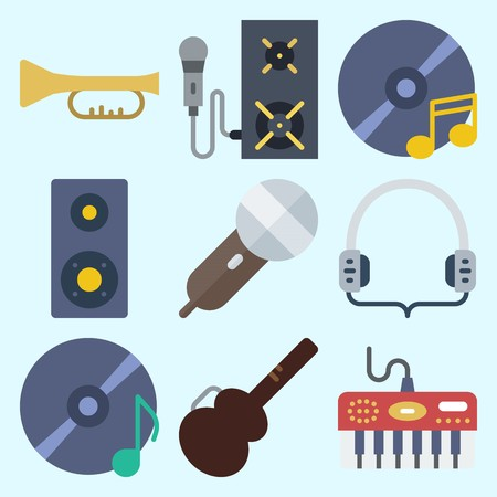 Icons set about Music with announcer, guitar protector, compact disc, headphones, trumpet and cd Çizim