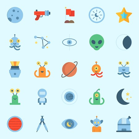 Icons about Universe with observation, alien, capsule, astronaut, observatory and blaster Illustration