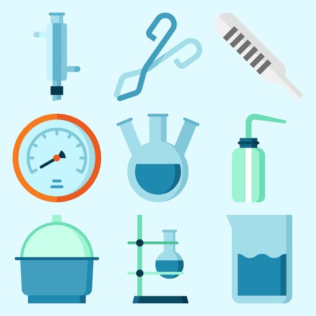 Icons set about Laboratory with velocity, tube, thermometer, separator funnel, flask and condenser